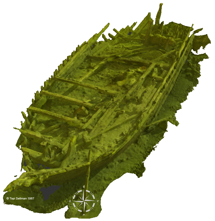 A view to a video based photogrammetry 3D model of the wreck at Sketchfab.com